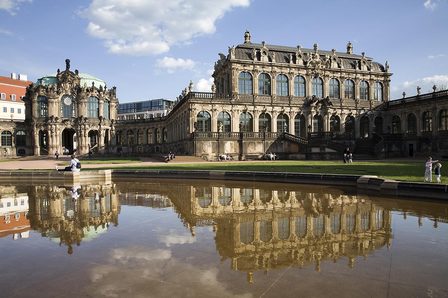 Inner court of the Staatliche Kunstsammlungen Dresden Gemäldegalerie Alte Meister in the Dresdner Zwinger Museum . With view of the Rampartpavilion and Glockenspielpavilion . Dresden, Germany