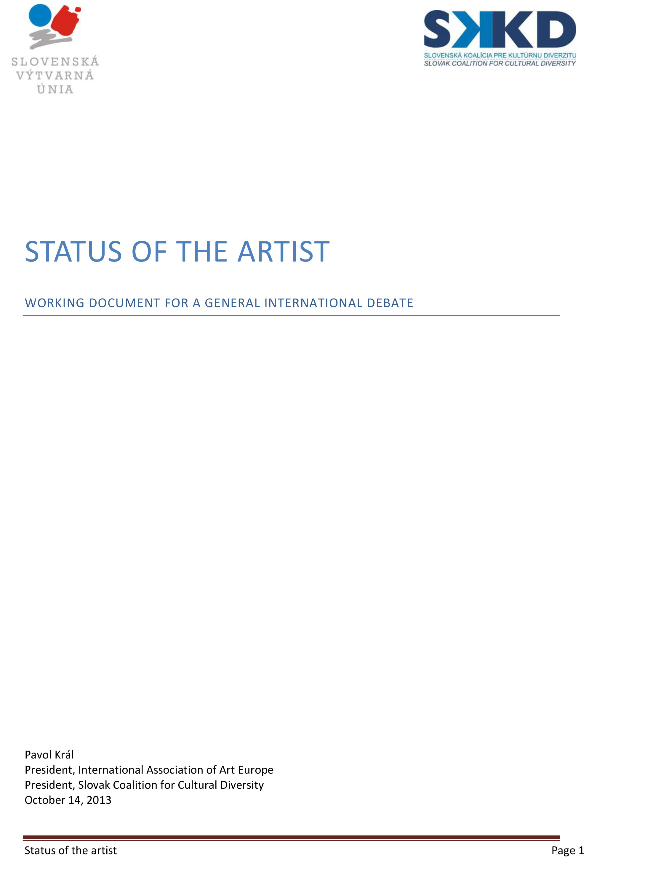 Status of the Artist COVER