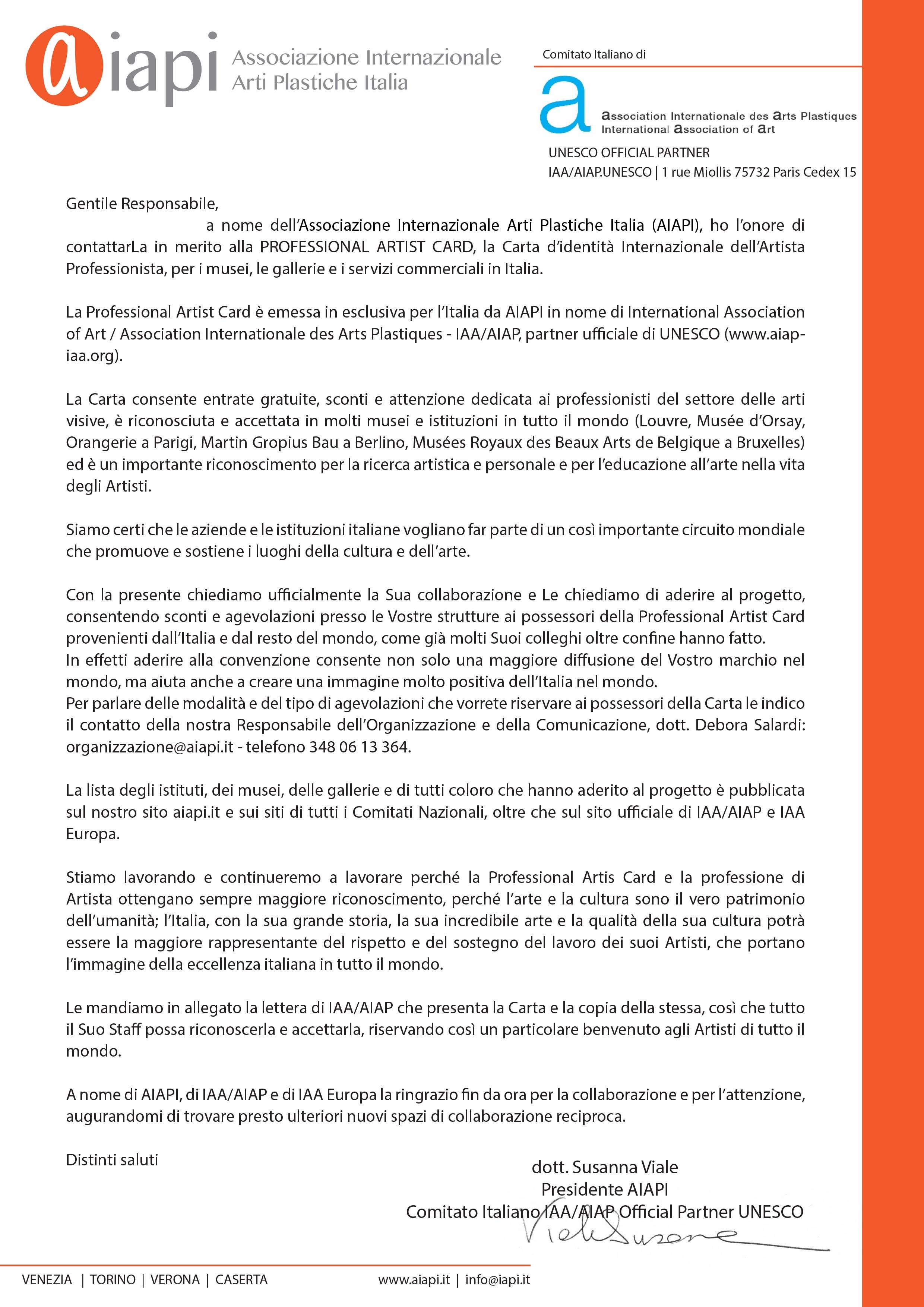 lettera convenzione aziende COVER